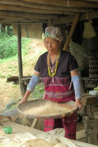 Karen tribe winnowing rice